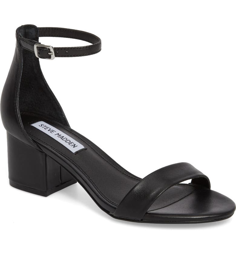 STEVE MADDEN Irenee Ankle Strap Sandal, Main, color, BLACK LEATHER