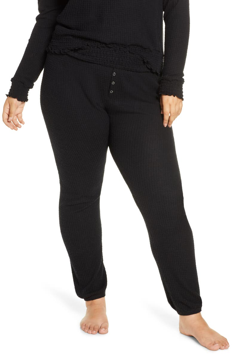 BP. Smocked Thermal Jogger Pants, Main, color, BLACK