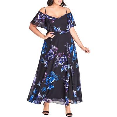 Plus Size City Chic Electric Rose Maxi Dress, Black