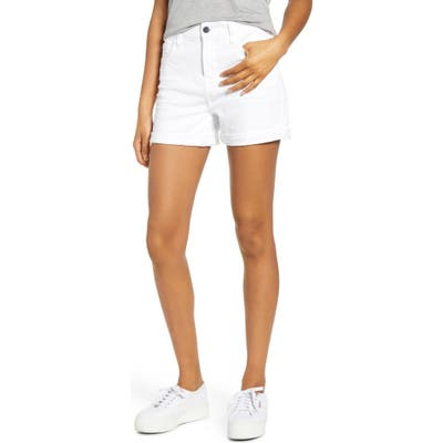 Jen7 By 7 For All Mankind Roll Cuff Denim Shorts, White