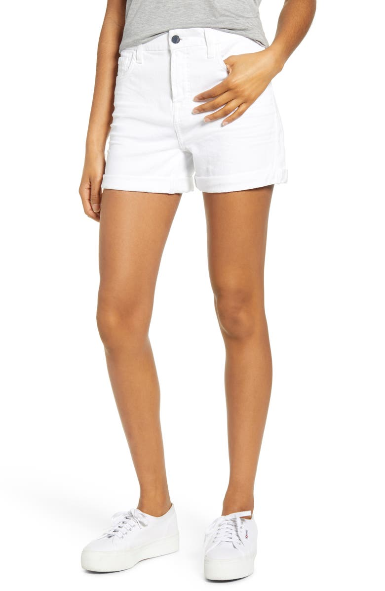 JEN7 BY 7 FOR ALL MANKIND Roll Cuff Denim Shorts, Main, color, WHITE