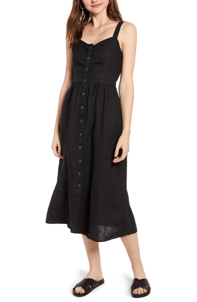 TREASURE & BOND Linen Midi Dress, Main, color, BLACK