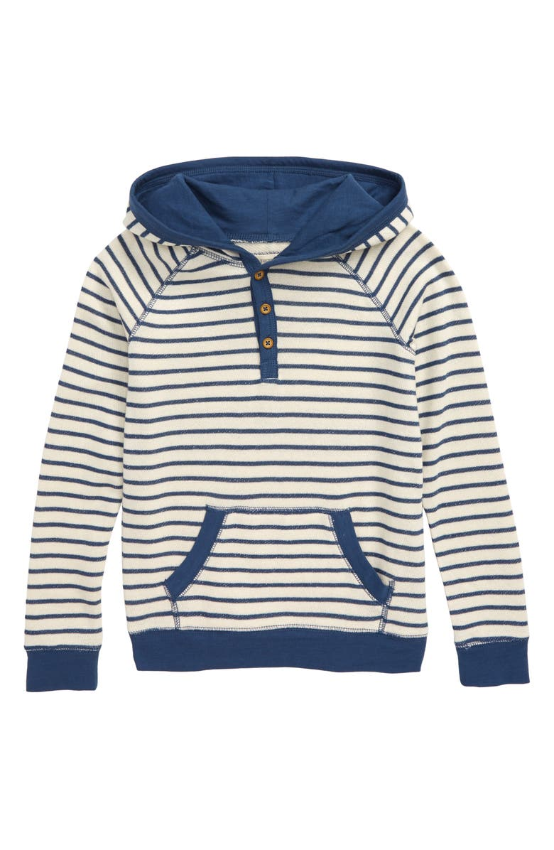 TUCKER + TATE Who Needs a Compass Henley Hoodie, Main, color, IVORY- NAVY DENIM STRIPE