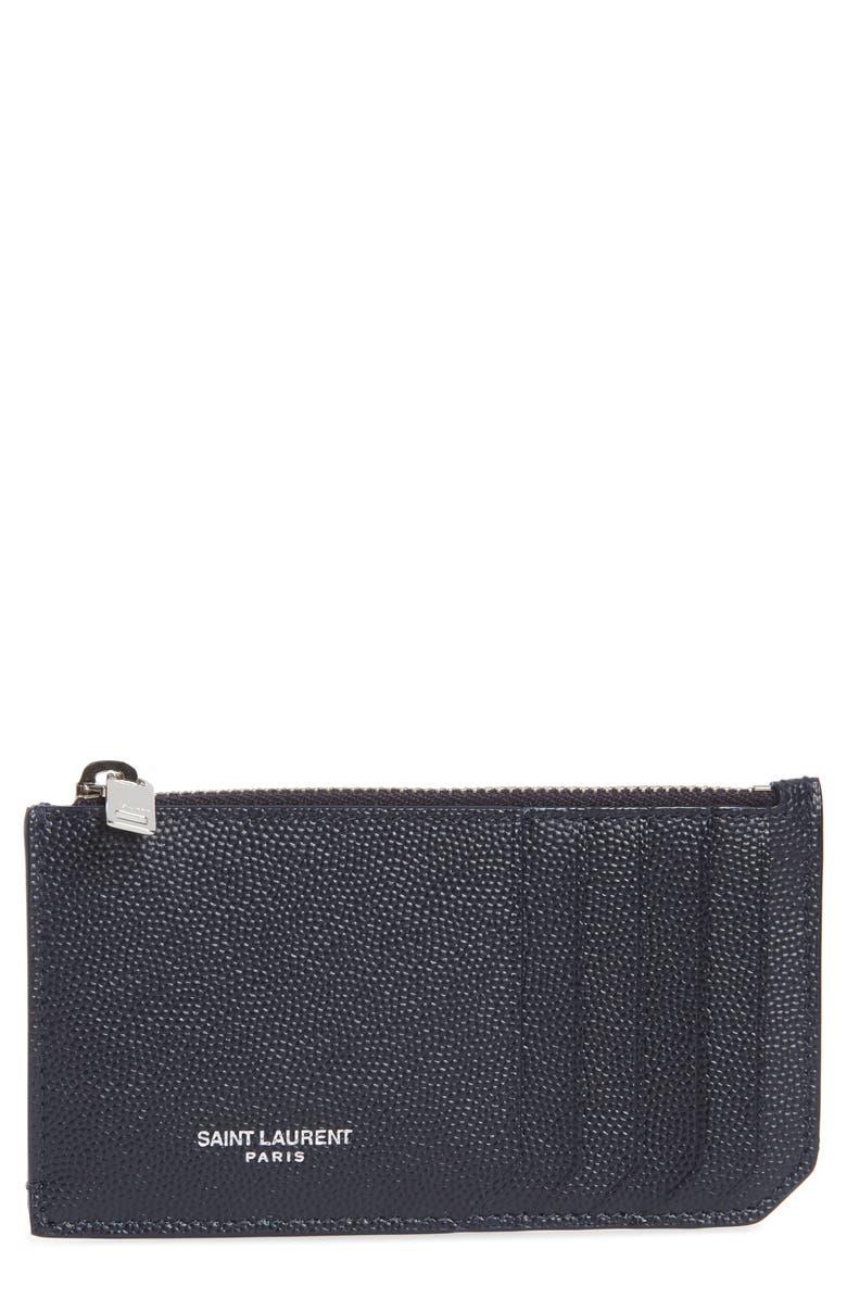 SAINT LAURENT Pebble Grain Leather Zip Wallet, Main, color, BLUE