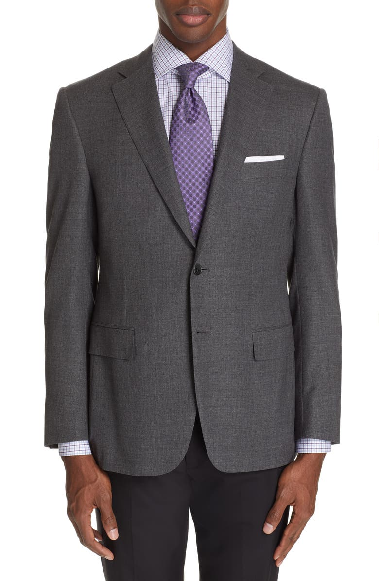 CANALI Sienna Classic Fit Solid Wool Sport Coat, Main, color, CHARCOAL