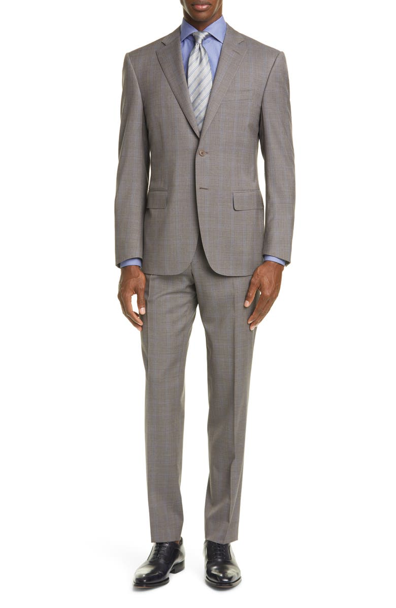 CANALI Siena Soft Classic Fit Stretch Windowpane Wool Suit, Main, color, 200