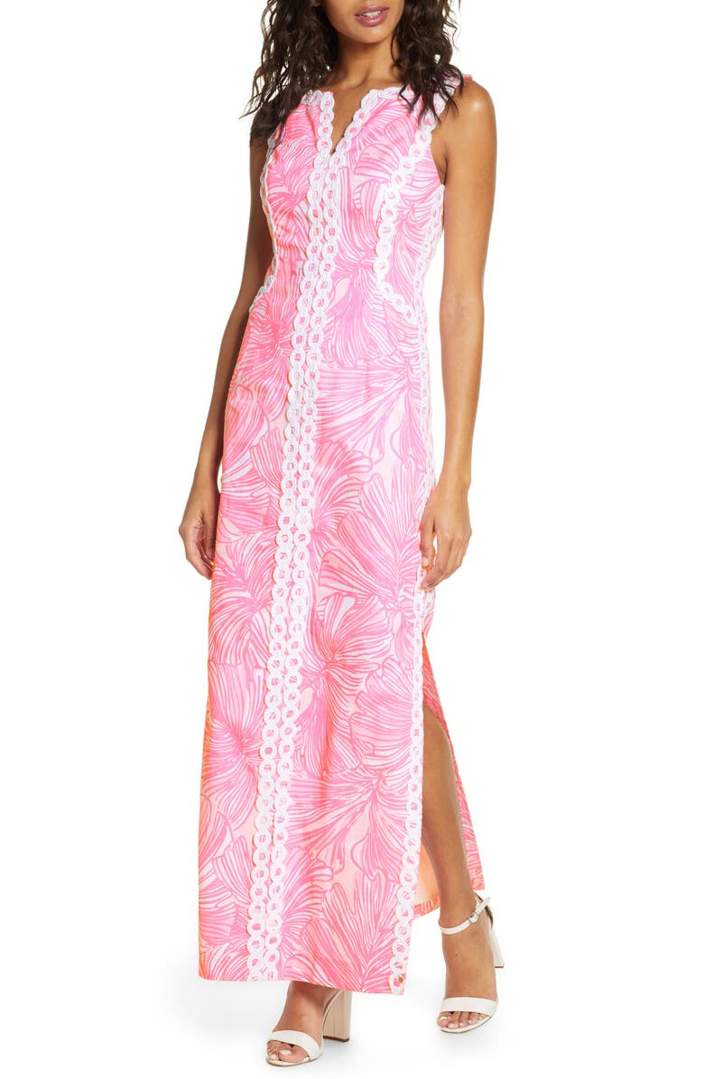 LILLY PULITZER<SUP>®</SUP> Daise Stretch Maxi Dress, Main, color, PROSECCO PINK FRONDS PLACE