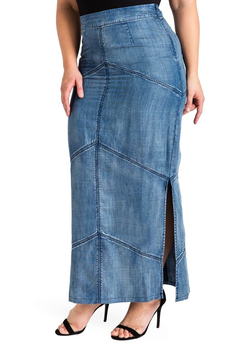 STANDARDS & PRACTICES Paulina Maxi Pencil Skirt, Main, color, DARK BLUE