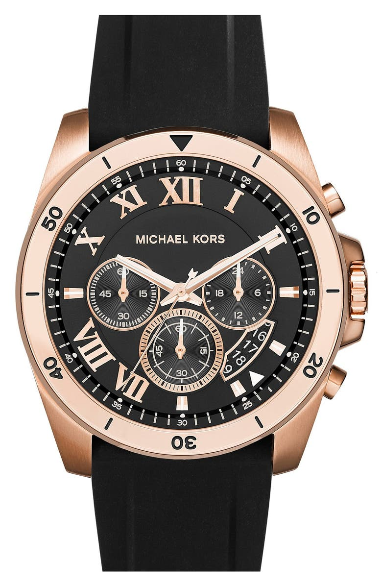 MICHAEL KORS 'Brecken' Chronograph Silicone Strap Watch, 44mm, Main, color, 001