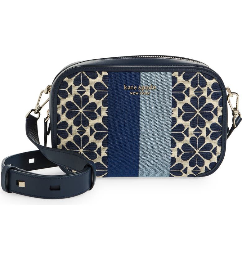KATE SPADE NEW YORK spade flower jacquard crossbody bag, Main, color, BLUE MULTI