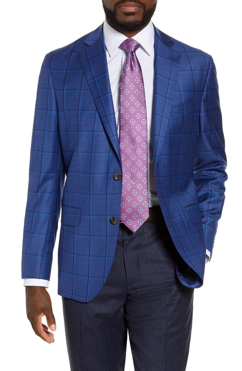 DAVID DONAHUE Arnold Classic Fit Check Wool Sport Coat, Main, color, BLUE