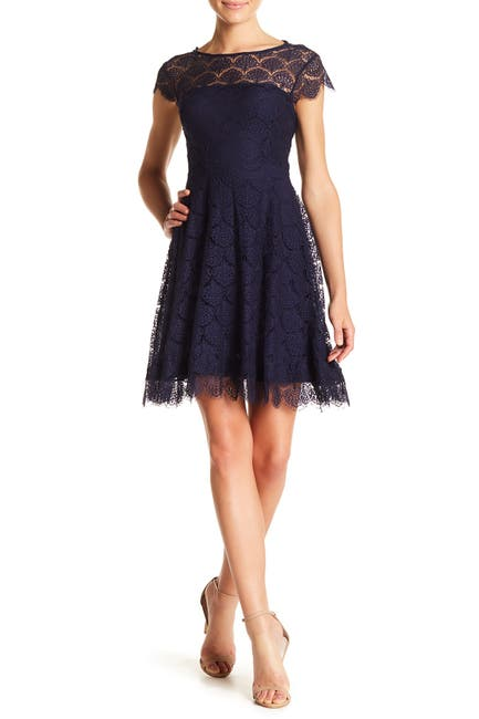 Image of Kensie Lace Back Cutout Fit & Flare Dress
