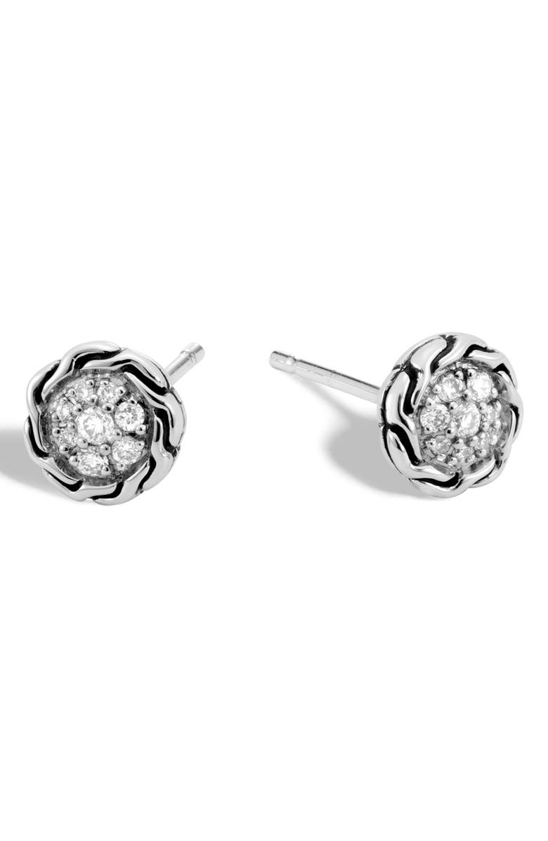 JOHN HARDY Chain Classic Pavé Diamond Stud Earrings, Main, color, SILVER/ DIAMOND