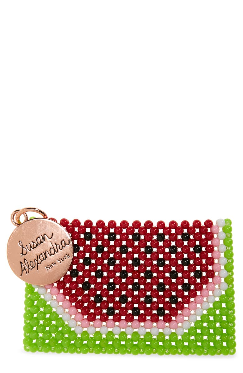 SUSAN ALEXANDRA Watermelon-ita Beaded Card Holder, Main, color, MULTI