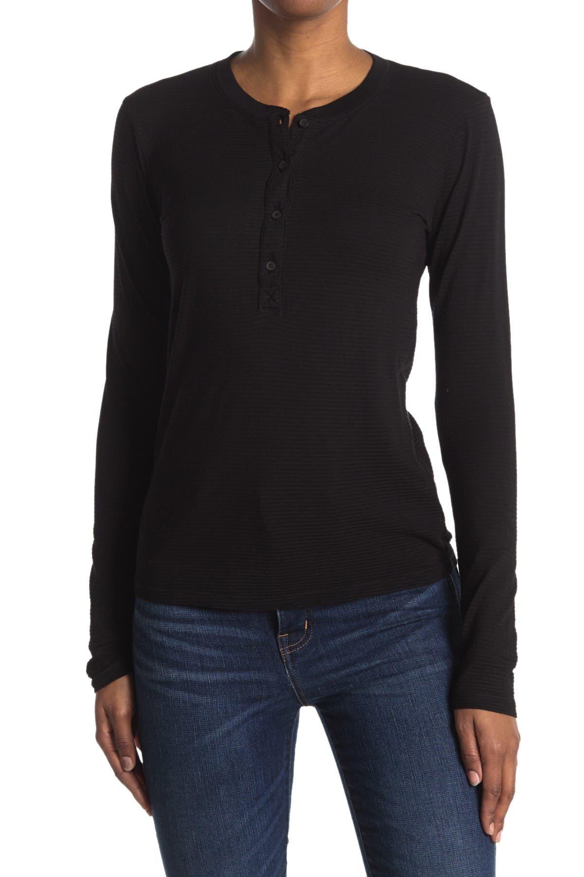 Image of Stateside Shadow Stripe Jersey Long Sleeve Henley