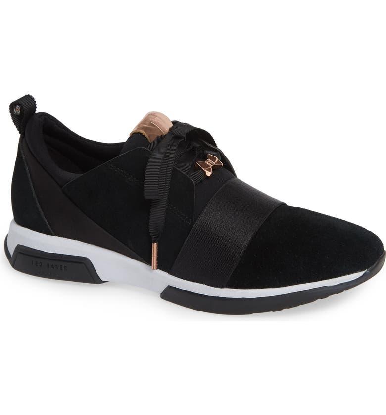 TED BAKER LONDON Cepap Sneaker, Main, color, BLACK SUEDE/ SATIN