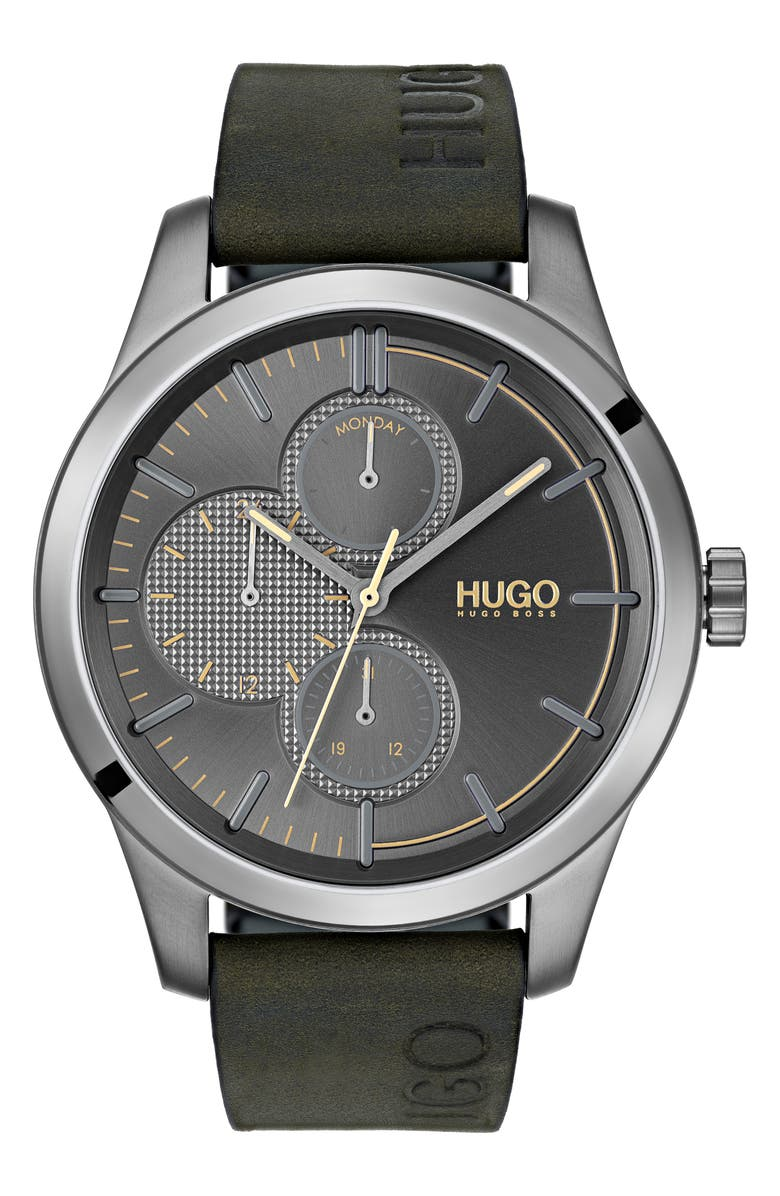 HUGO Discover Multifunction Leather Strap Watch, 46mm, Main, color, GREY/GREEN