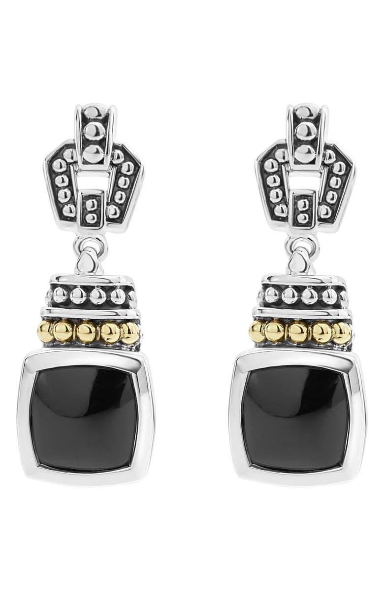 LAGOS 'Caviar Color' Square Semiprecious Stone Drop Earrings, Main, color, BLACK ONYX