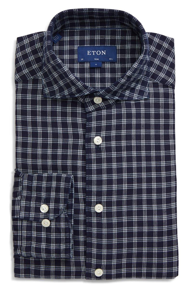 ETON Soft Collection Slim Fit Check Dress Shirt, Main, color, BLUE