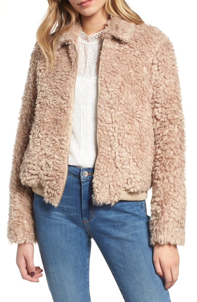 ENDLESS ROSE Teddy Bear Faux Fur Jacket, Main, color, 250