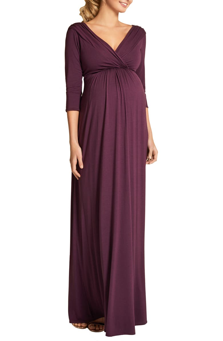 TIFFANY ROSE Willow Maternity Gown, Main, color, CLARET