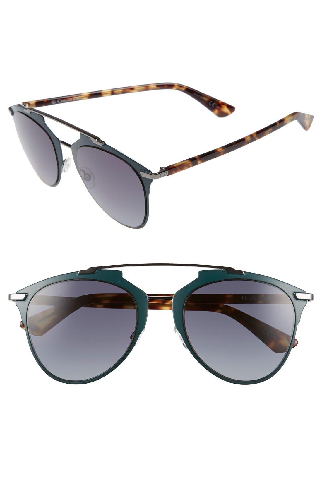 ,                             Reflected 52mm Brow Bar Sunglasses,                             Main thumbnail 4, color,                             020