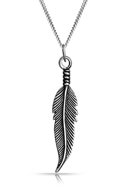 Image of Bling Jewelry Blackened Sterling Silver Feather Pendant Necklace