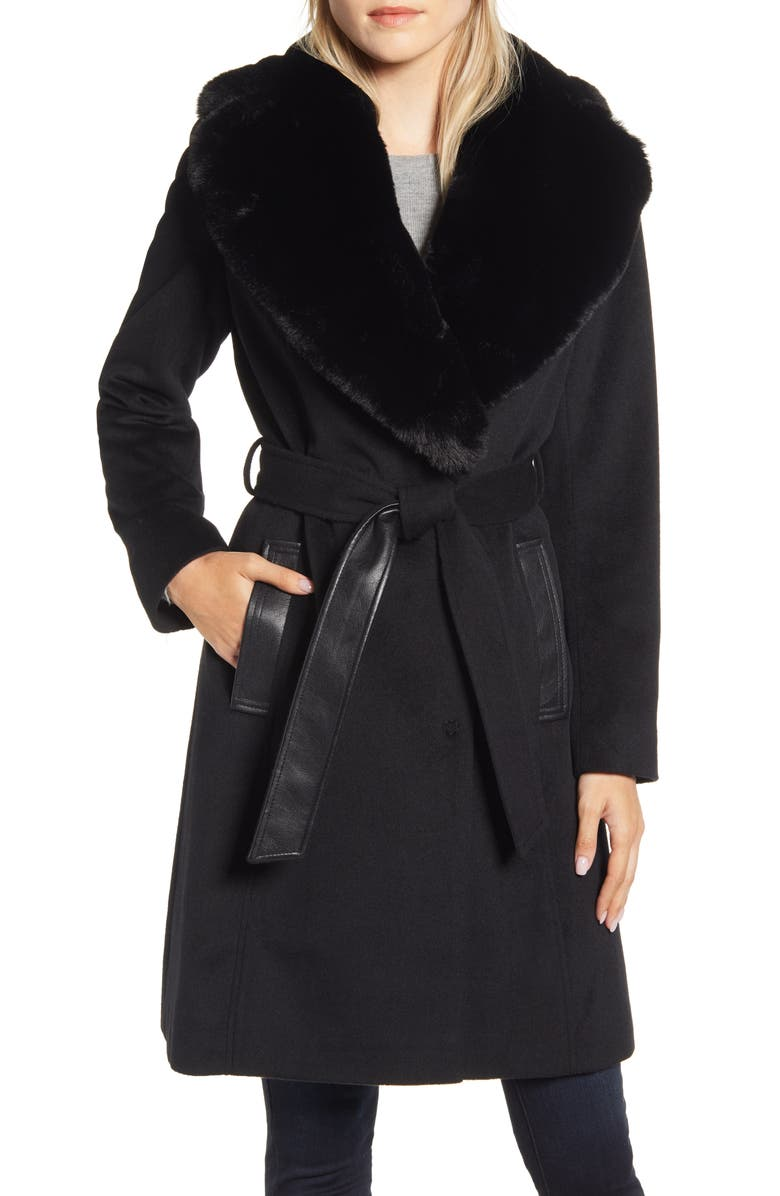 VIA SPIGA Faux Leather & Wool Blend Coat with Faux Fur Collar, Main, color, BLACK
