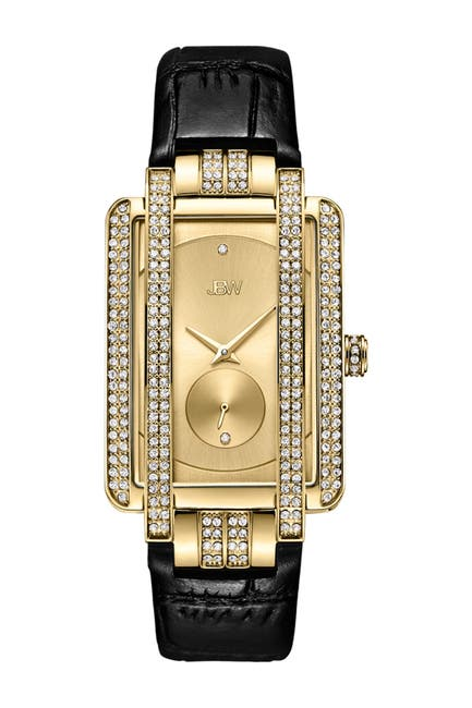 Image of JBW Women's Mink Diamond Croc Embossed Leather Strap Watch, 28mm - 0.02 ctw