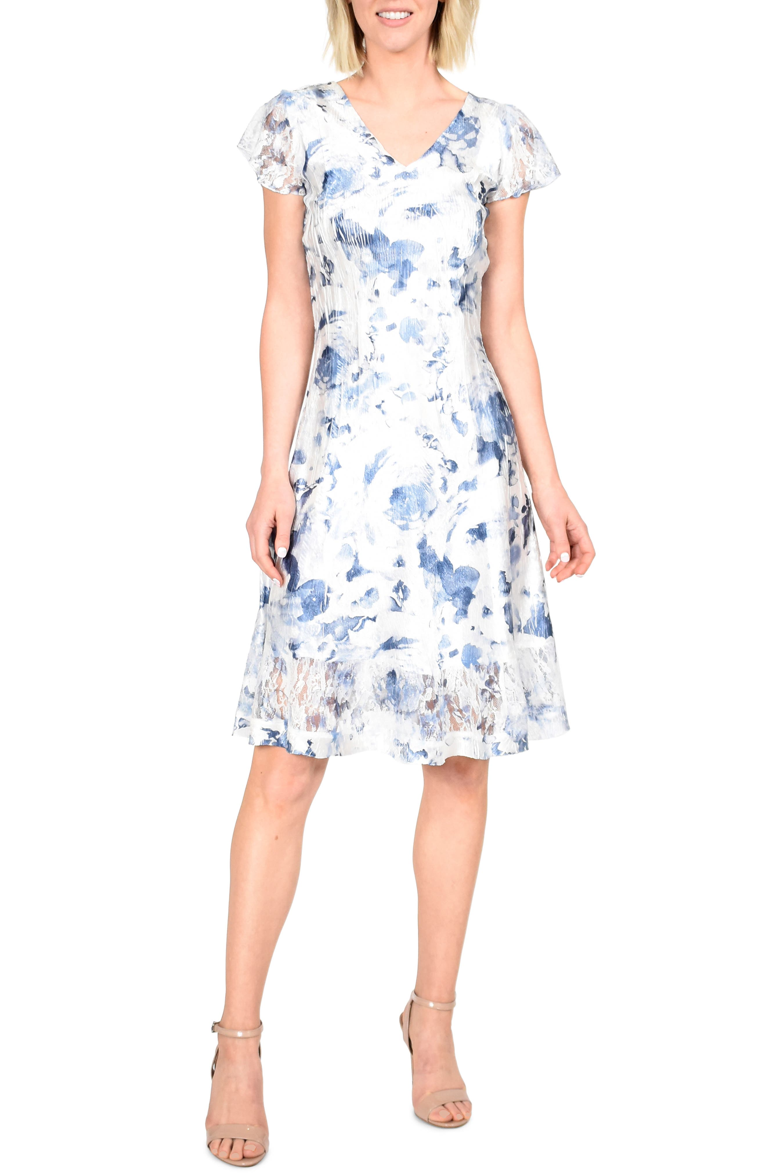 Komarov Painted Azalea A-Line Dress, Blue