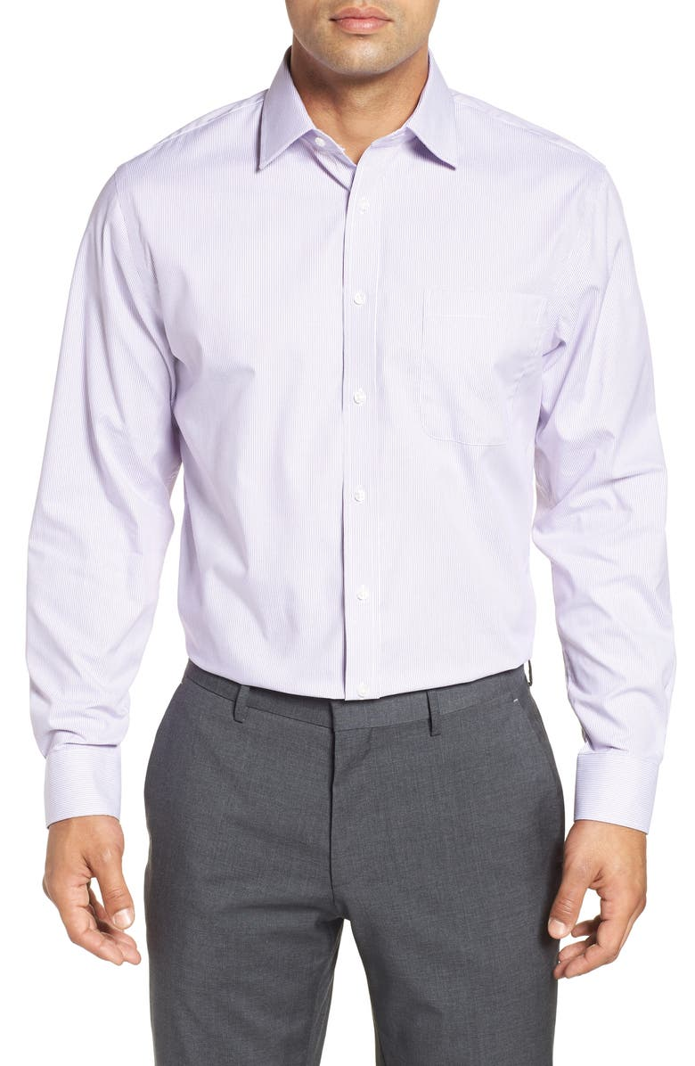 NORDSTROM MEN'S SHOP Traditional Fit Non-Iron Stripe Dress Shirt, Main, color, PURPLE CRYSTAL