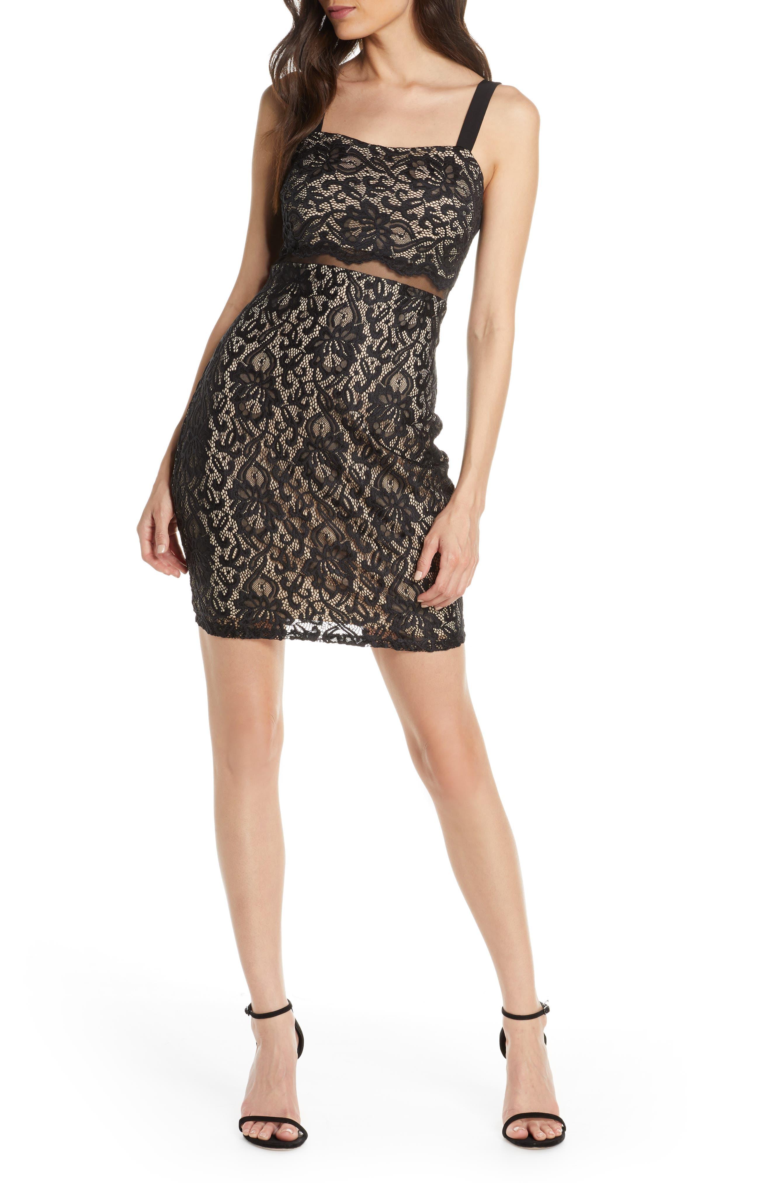 Sequin Hearts Illusion Waist Body-Con Lace Minidress, Black