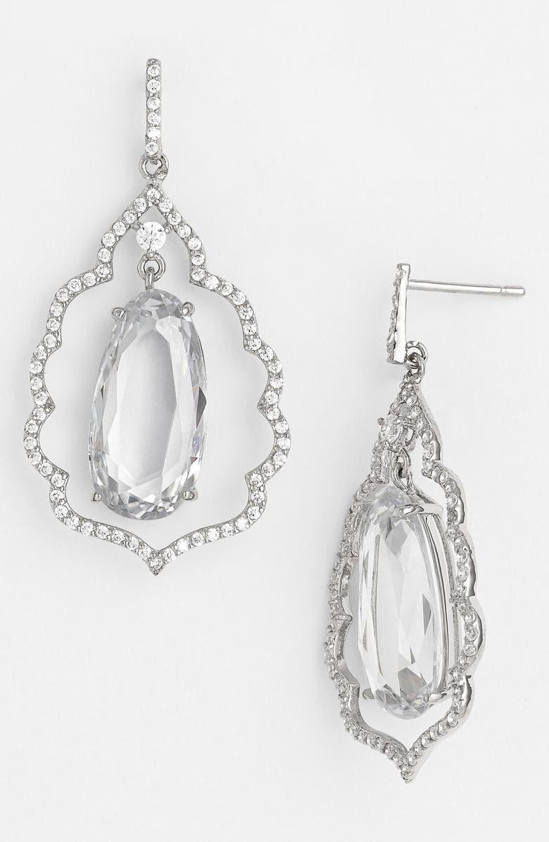NINA Scalloped Crystal Drop Earrings, Main, color, 040