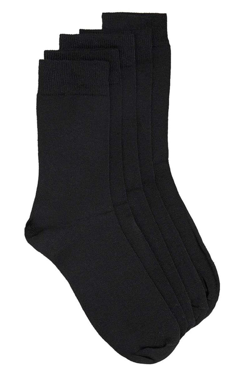 TOPMAN 5-Pack Branded Socks, Main, color, Black