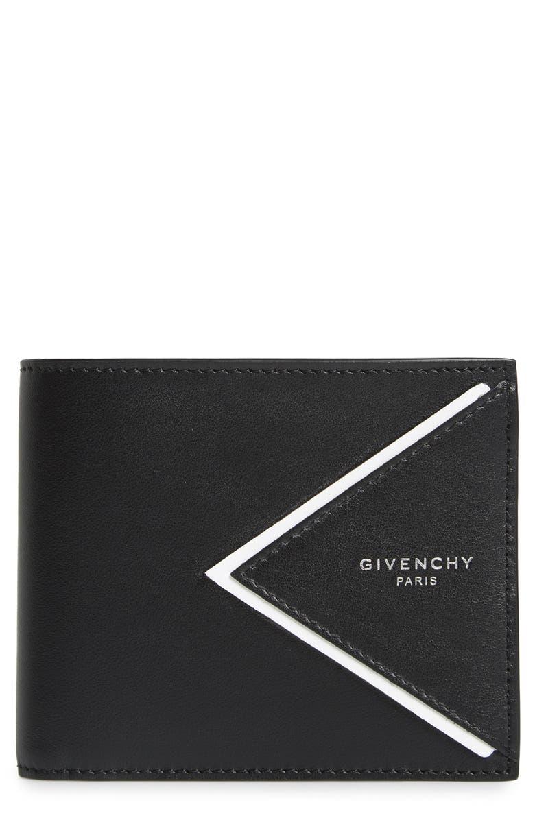 GIVENCHY V-Shape Leather Wallet, Main, color, BLACK/ WHITE