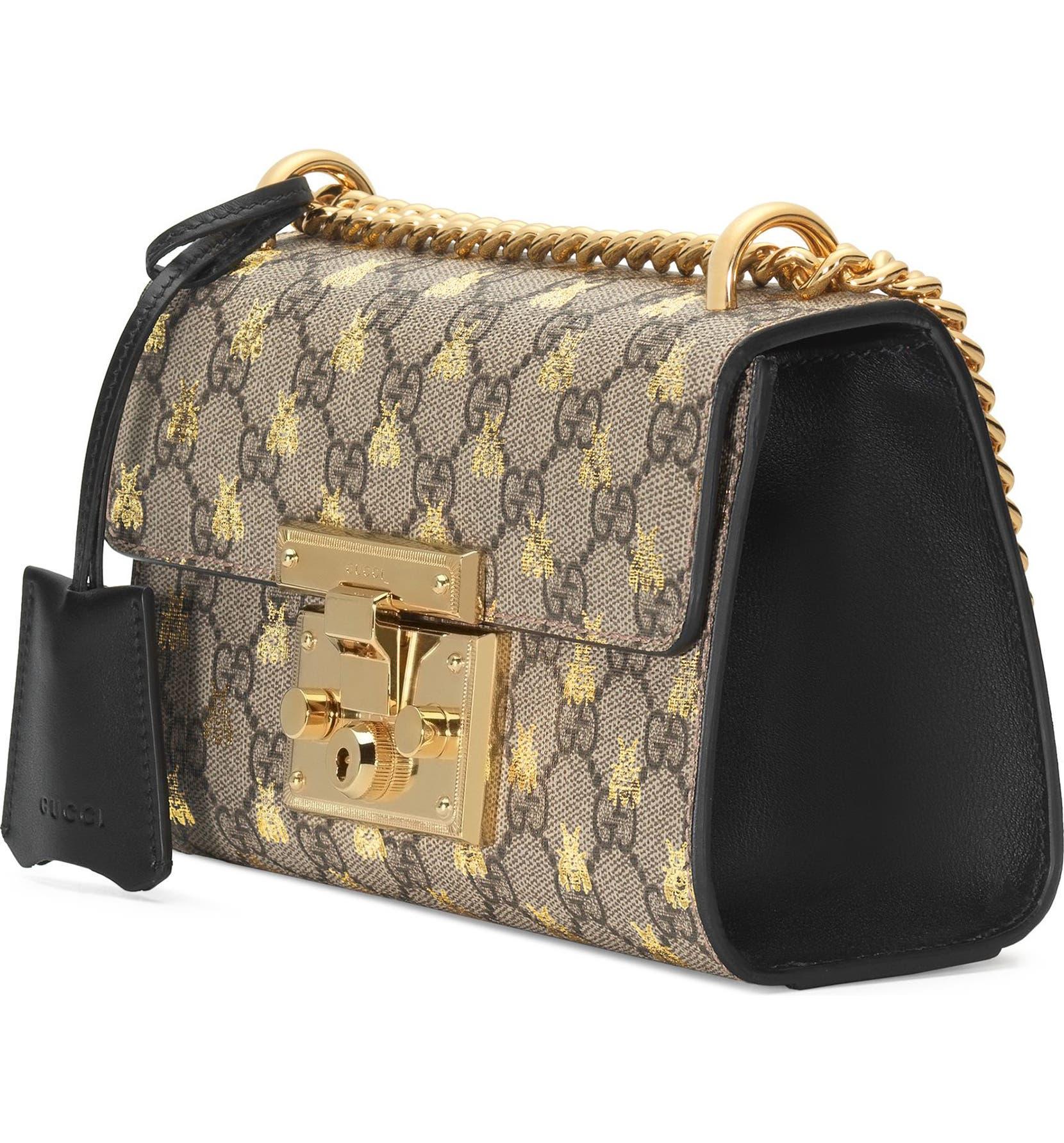 8a3279d59d2b Gucci Small Padlock GG Supreme Bee Shoulder Bag | Nordstrom