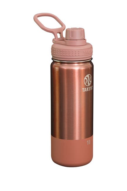 Image of Takeya Rose Gold Actives Matte Metallic 18 oz. Spout Lid Insulated Stainless Steel Bottle