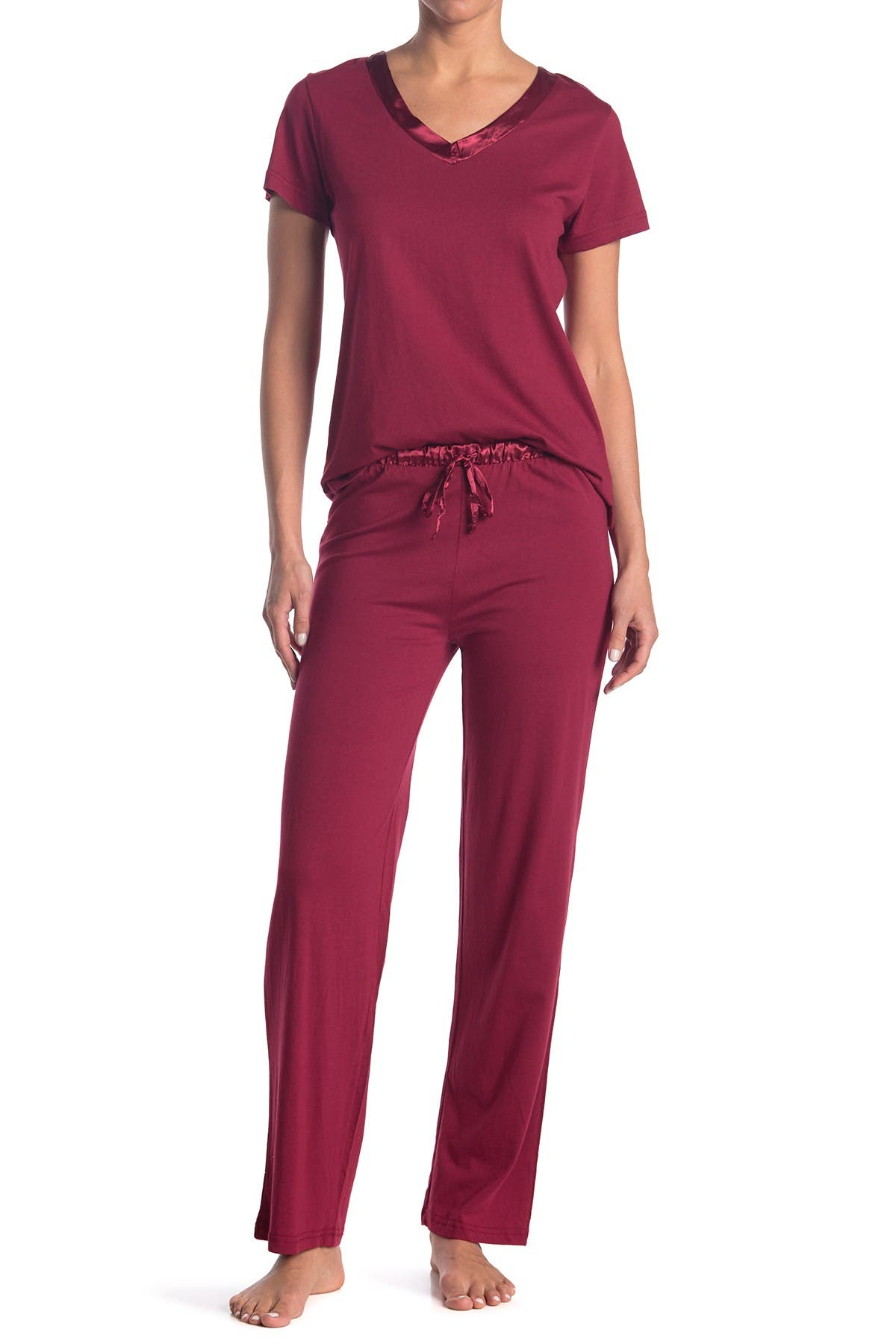 Image of Blis Satin Trim 2-Piece Pajama Set