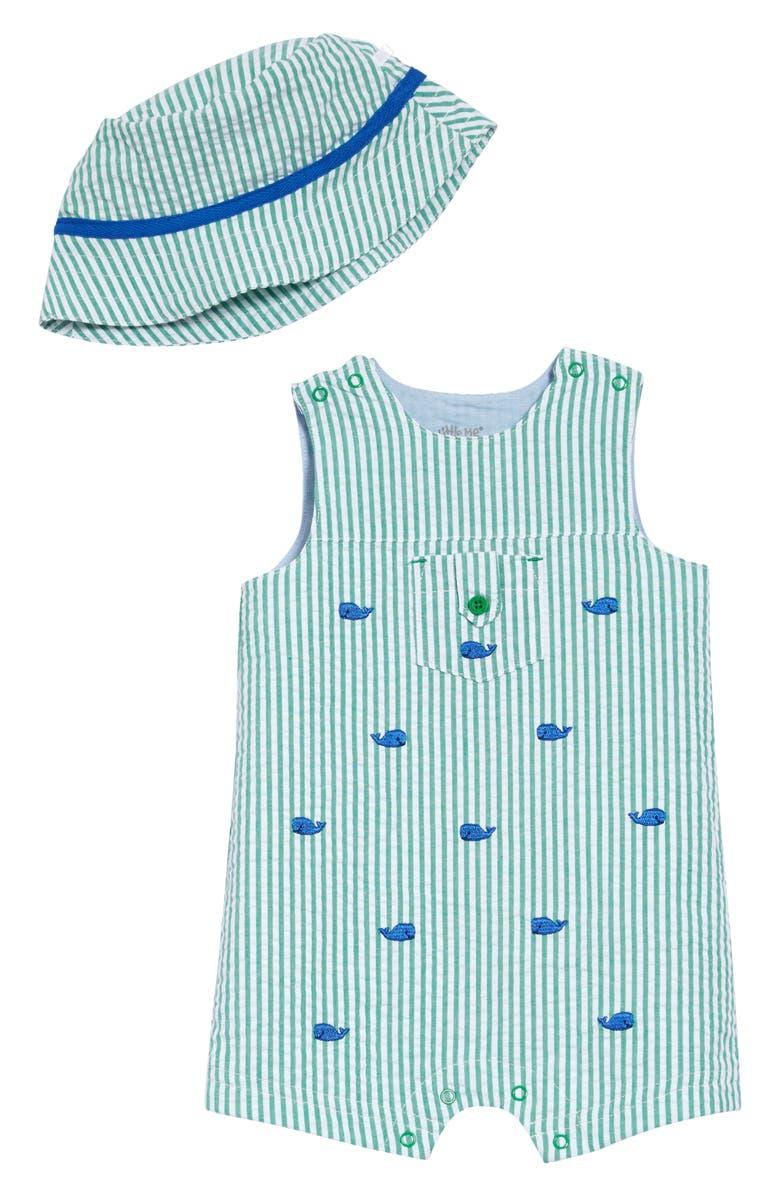 LITTLE ME Whale Romper & Hat Set, Main, color, GREEN