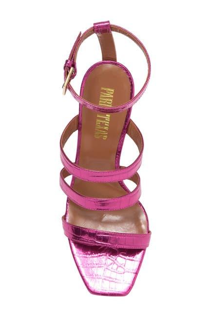 Image of PARIS TEXAS Metallic Croc Embossed Strappy Sandal