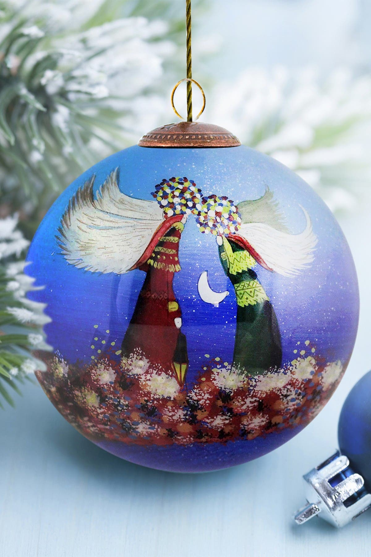 "Image of Overstock Art ""Angels"" Justyna Kopania Hand Painted Glass Ornament Collection - Set of 3"