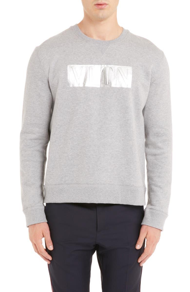 VALENTINO VLTN Logo Sweatshirt, Main, color, GRIGIO MELANGE