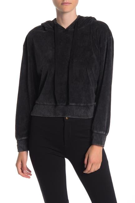 Image of Dress Forum Velour Hooded Crop Sweatshirt