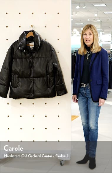 Oversize Faux Leather Puffer Jacket, sales video thumbnail