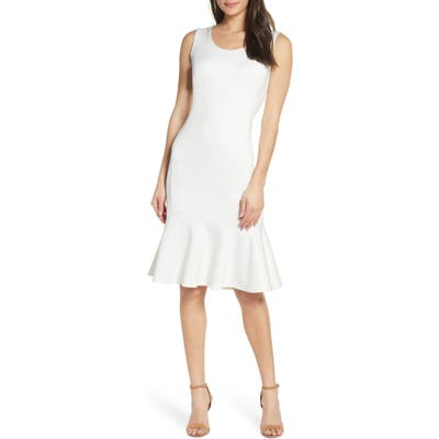 Forest Lily Scuba Dress, White