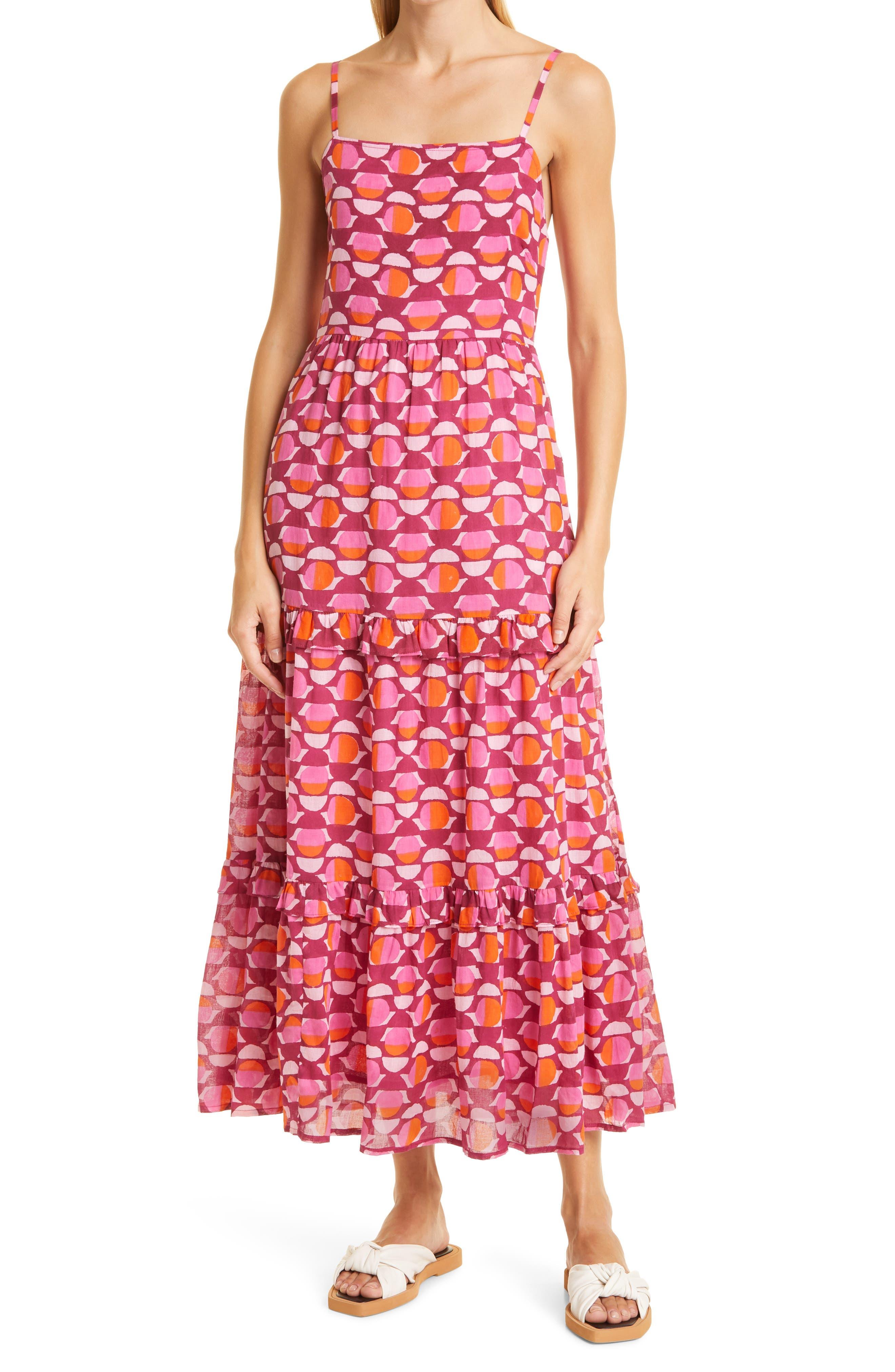 Hazel Geometric Ruffle Midi Organic Cotton Sundress