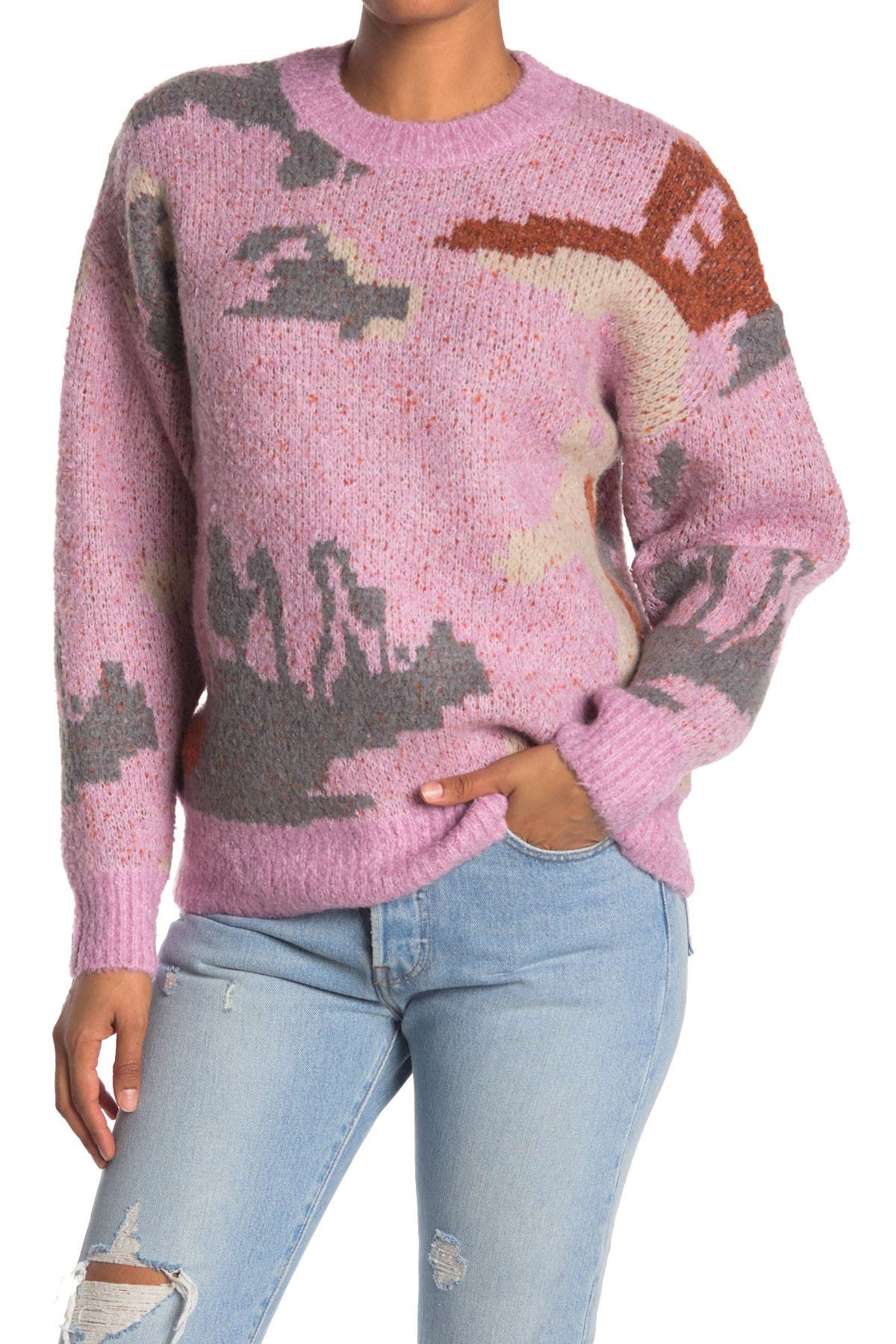 Image of Elodie Patterned Crew Neck Pullover Sweater