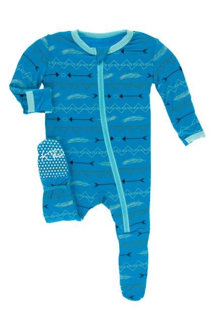 Image of KicKee Pants Printed Zip Footie