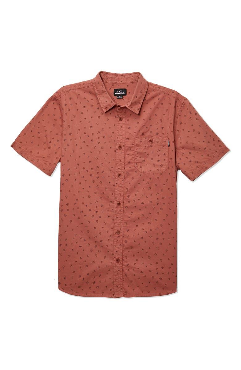 O'NEILL Rocksteady Short Sleeve Cotton Button-Up Shirt, Main, color, RUST