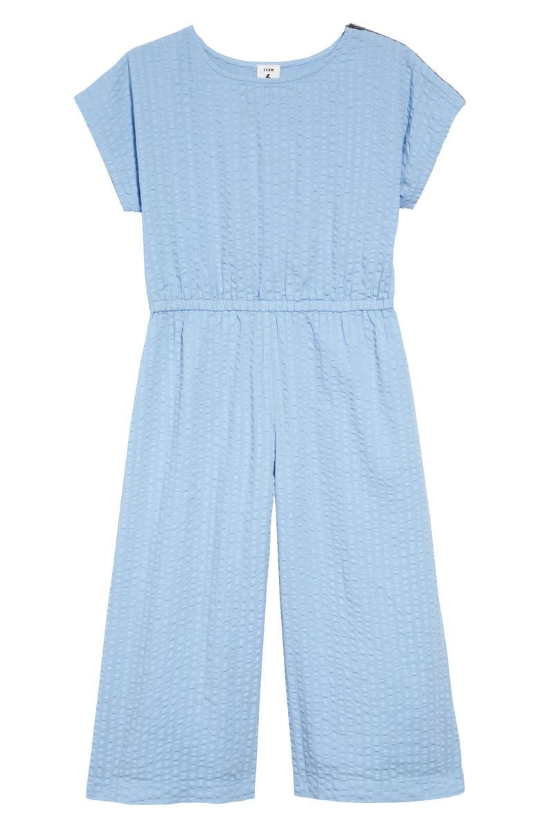 STEM Textured Shoulder Zip Jumpsuit, Main, color, BLUE FOREVER